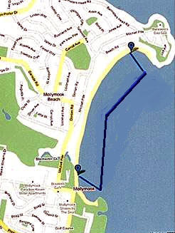 Mollymook Ocean Swim Map